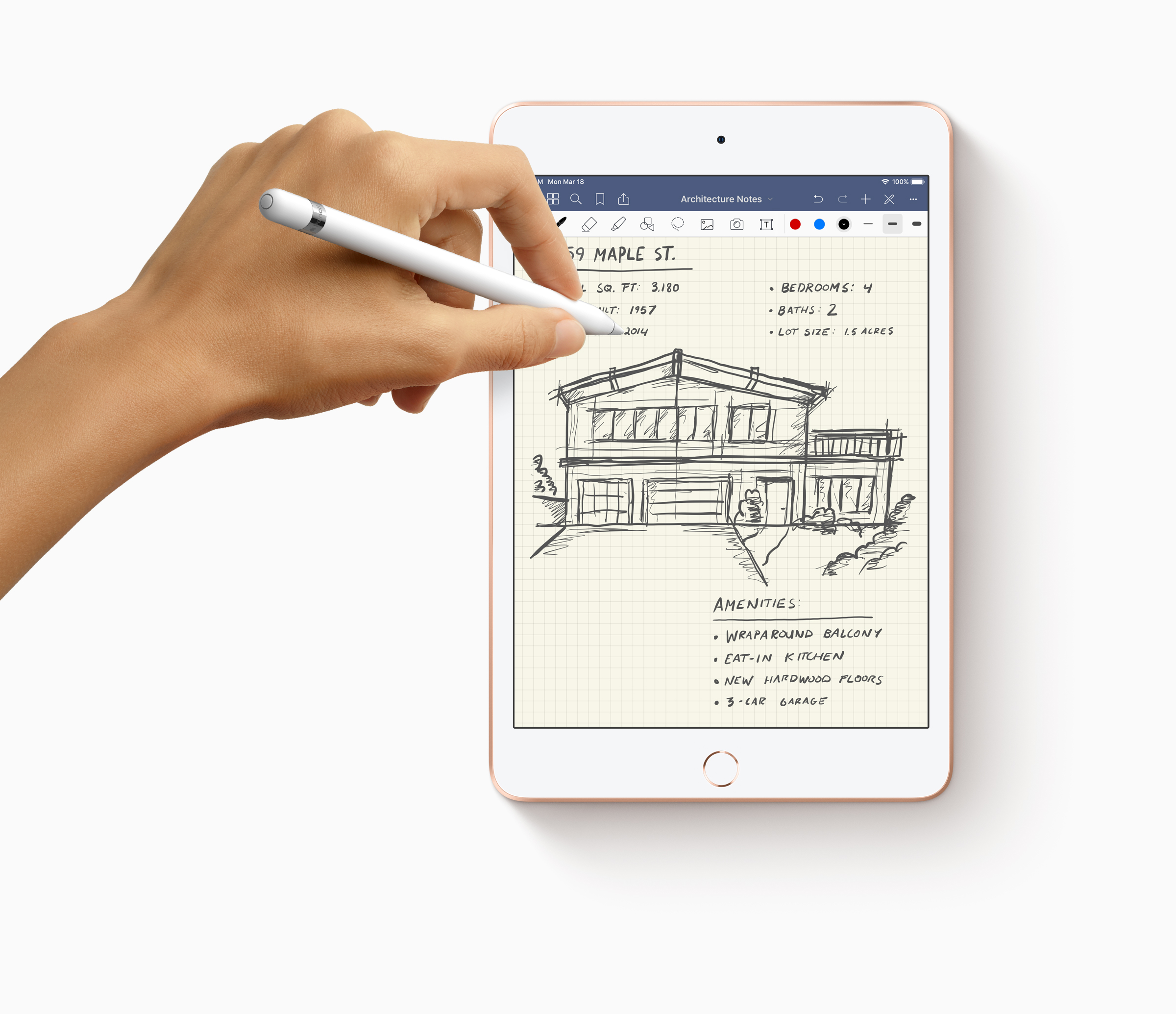 New IPad Mini Apple Pencil With Hands Drawing 03162019